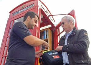 Defibrillator & book exchange launch Gareth and Nick8-10-15