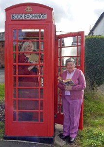 Defibrillator & book exchange launch Janet and Jean 8-10-15