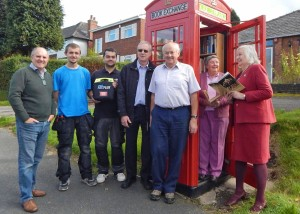 Defibrillator & book exchange launch group 2 8-10-15