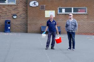 Lickey Hills Primary School building removal veiwed by by Dan Gittens:school site manager and ex-pupil Simon Woolford 9 WEB Keith Woolford 25-7-17