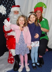 Blackwell First School Chrismas Fayre - Lily Roberts & Eva Smith with Santa 6-12-15