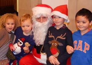 Lickey Tree Lighting Santa with children 2 6-12-15